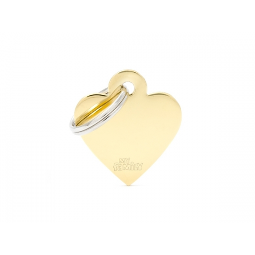 MY FAMILY - Basic Gold & Chrome - Cuore Piccolo Ottone Dorato - Medaglietta incisibile