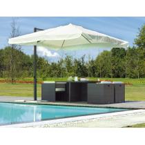 GREENWOOD Ombrellone E5028E quadrato da esterno - 3x3 m - Palo laterale - Colore écru