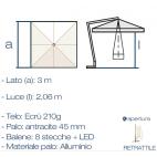 Greenwood ombrellone quadrato con luci led E5023