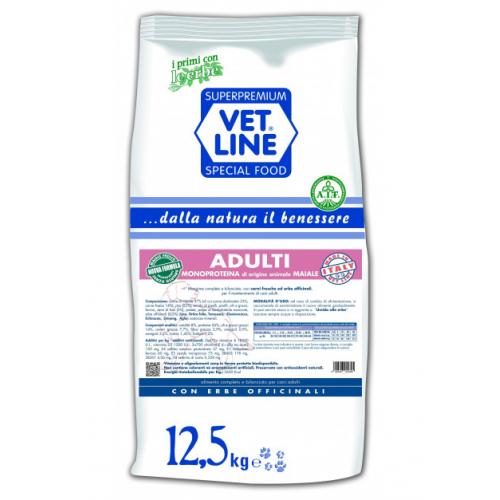 Crocchette per cani Vet Line adulti maiale 12,5 Kg