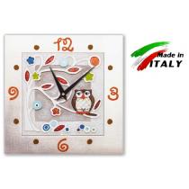 Cartapietra orologio da parete in basso rilievo gufino 28 x 28cm