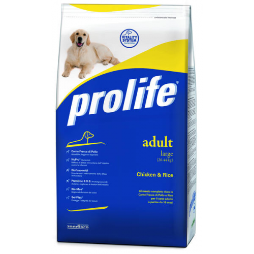 Crocchette per cani Prolife adult large pollo e riso 15 Kg