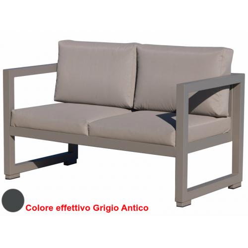 Vermobil divano quatris 2 posti in ferro grigio antico - Divano ferro battuto antico ...
