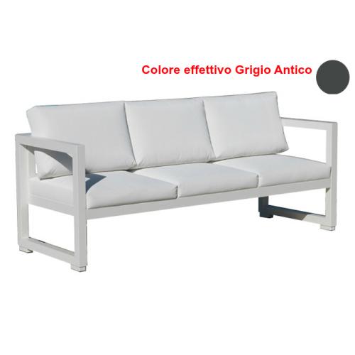 Vermobil divano quatris 3 posti in ferro grigio antico - Divano ferro battuto antico ...